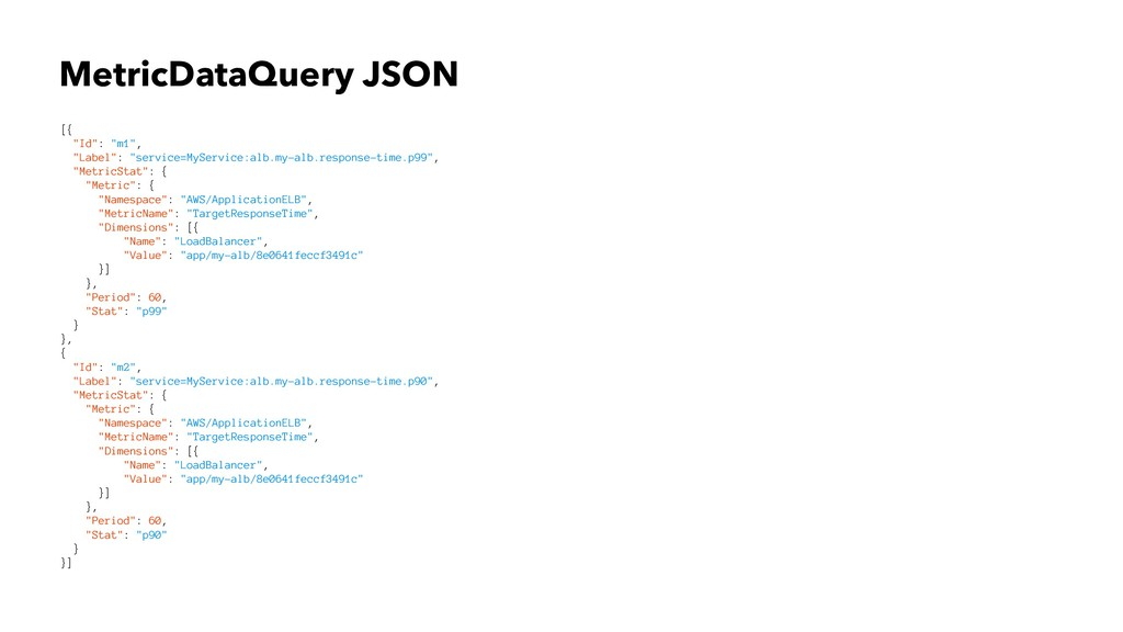 "MetricDataQuery JSON [{ ""Id"": ""m1"", ""Label"": ""s..."