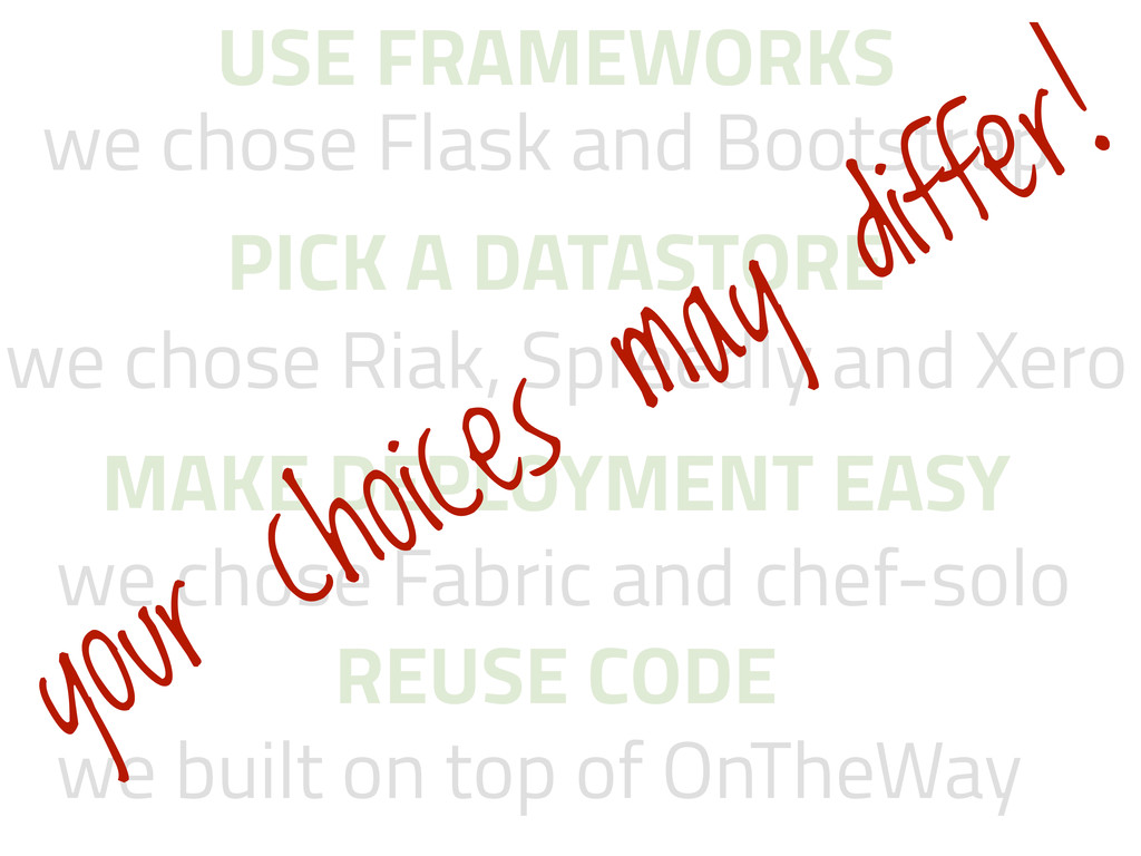 we chose Flask and Bootstrap USE FRAMEWORKS PIC...