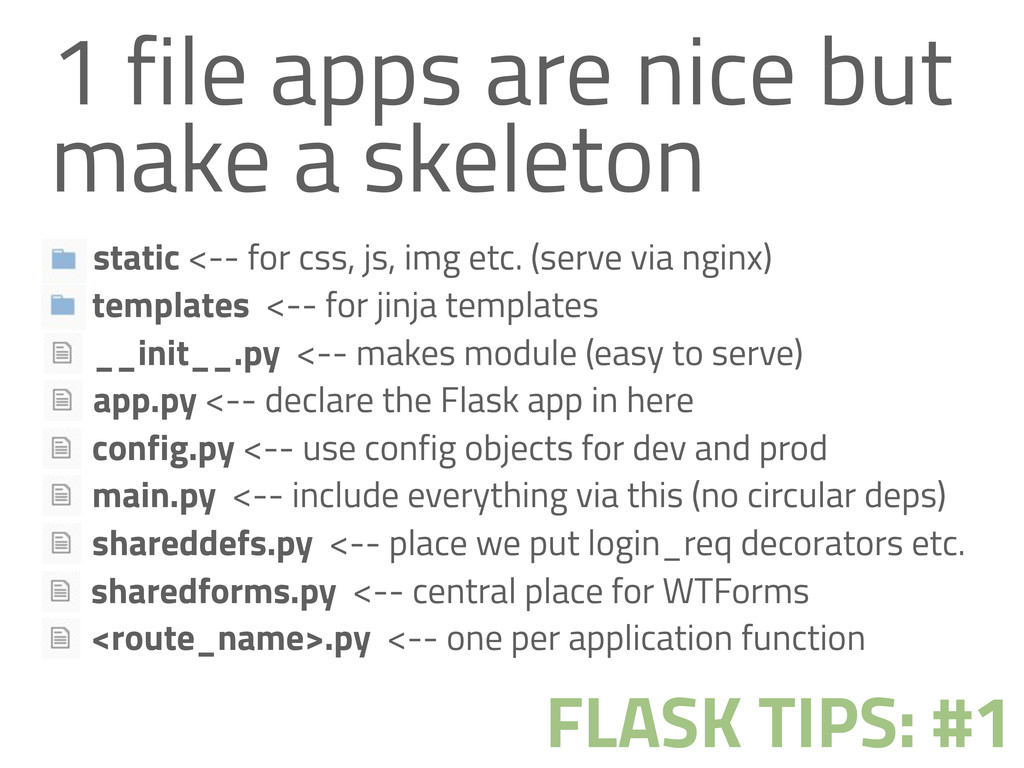 1 file apps are nice but make a skeleton FLASK ...