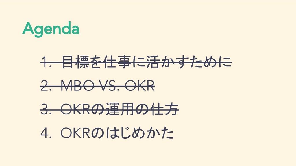 Agenda 1. 目標を仕事に活かすために 2. MBO VS. OKR 3. OKRの運用...