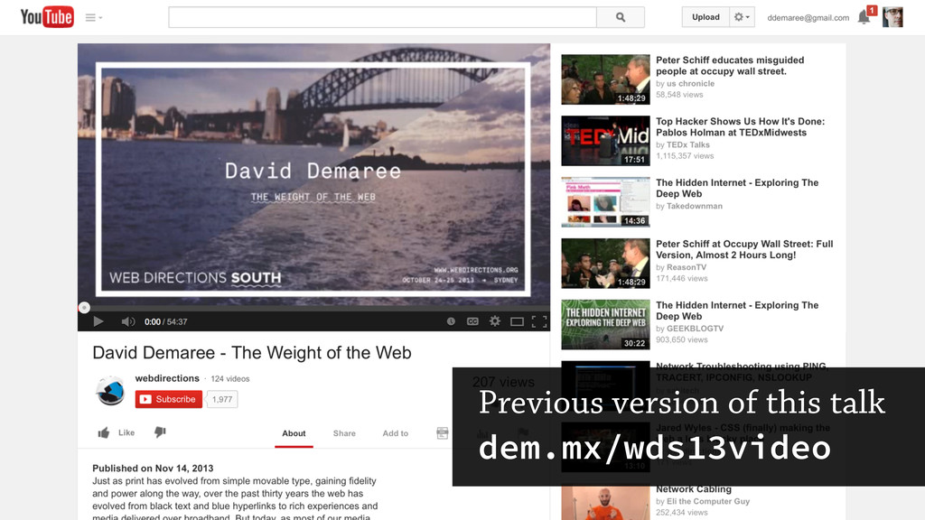Previous version of this talk dem.mx/wds13video
