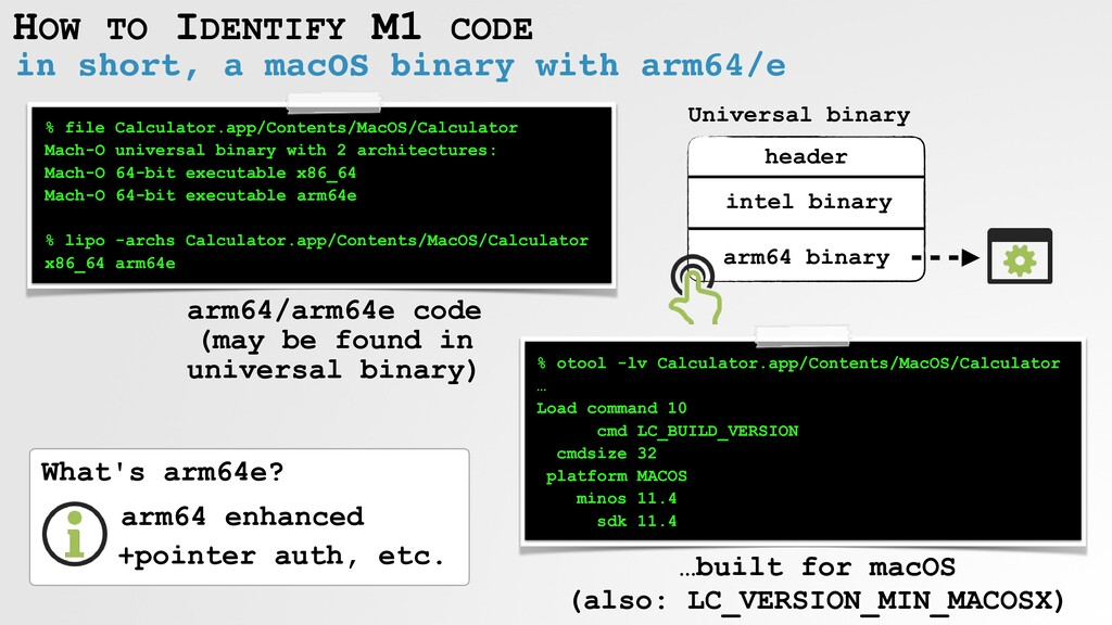 HOW TO IDENTIFY M1 CODE in short, a macOS binar...