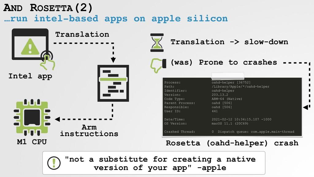 AND ROSETTA(2) …run intel-based apps on apple s...