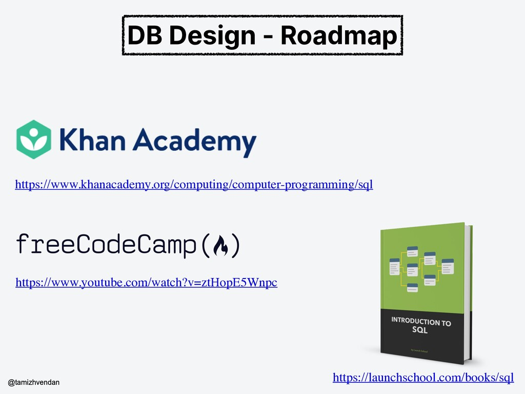 DB Design - Roadmap https://www.khanacademy.org...
