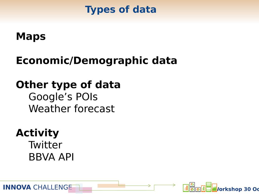 INNOVA CHALLENGE Workshop 30 Oc Types of data M...