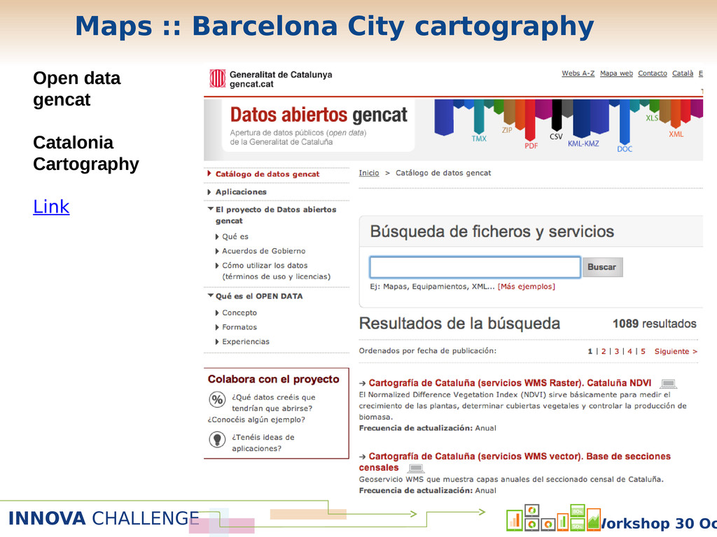 INNOVA CHALLENGE Workshop 30 Oc Open data genca...
