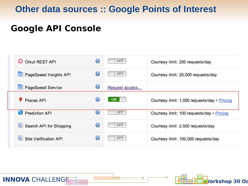 INNOVA CHALLENGE Workshop 30 Oc Google API Cons...