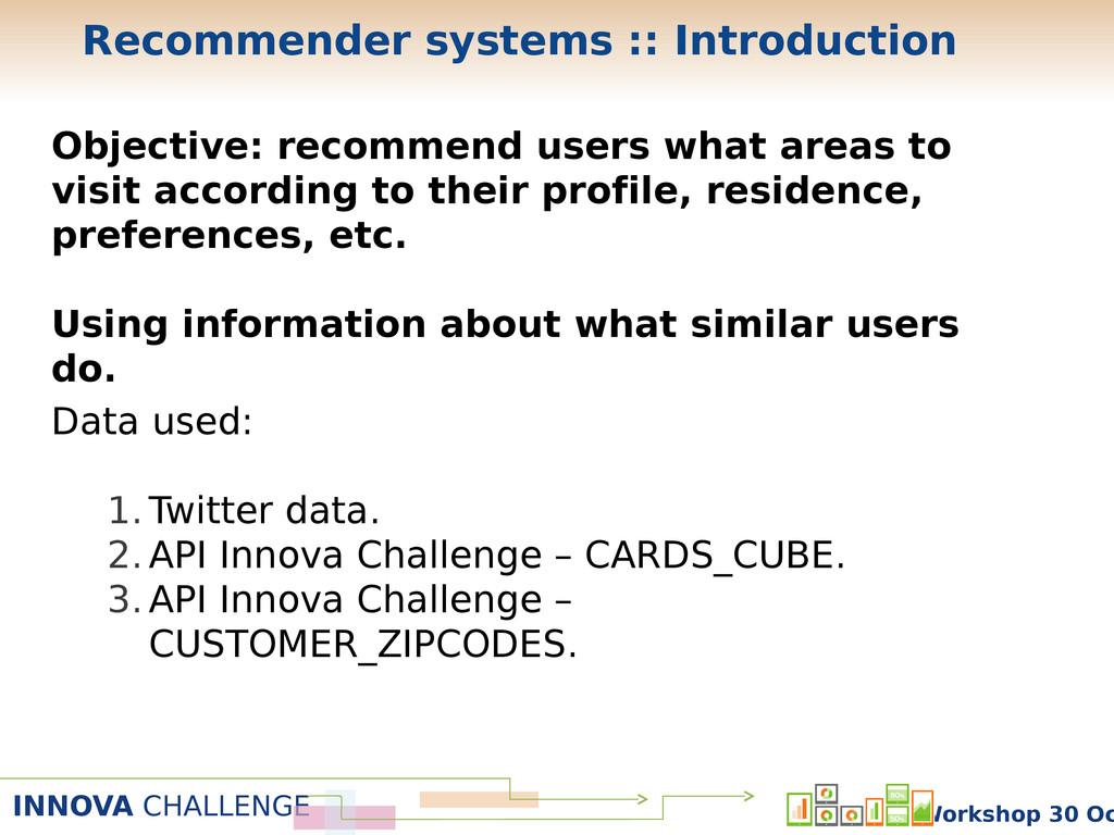 INNOVA CHALLENGE Workshop 30 Oc Objective: reco...
