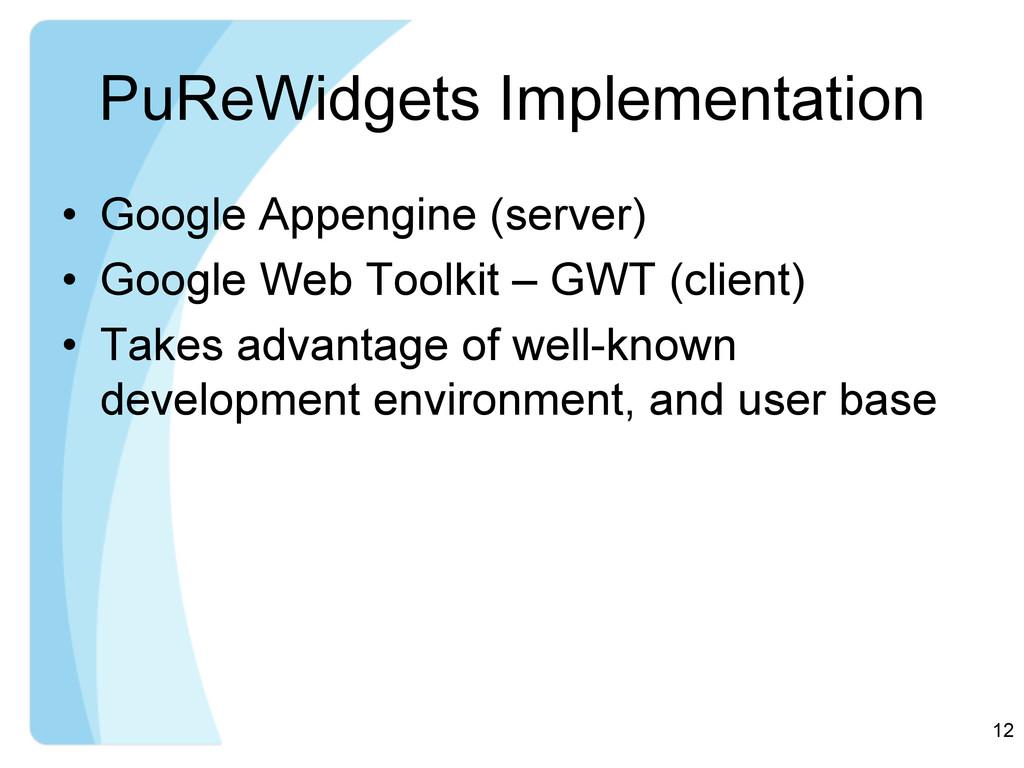 PuReWidgets Implementation • Google Appengine ...