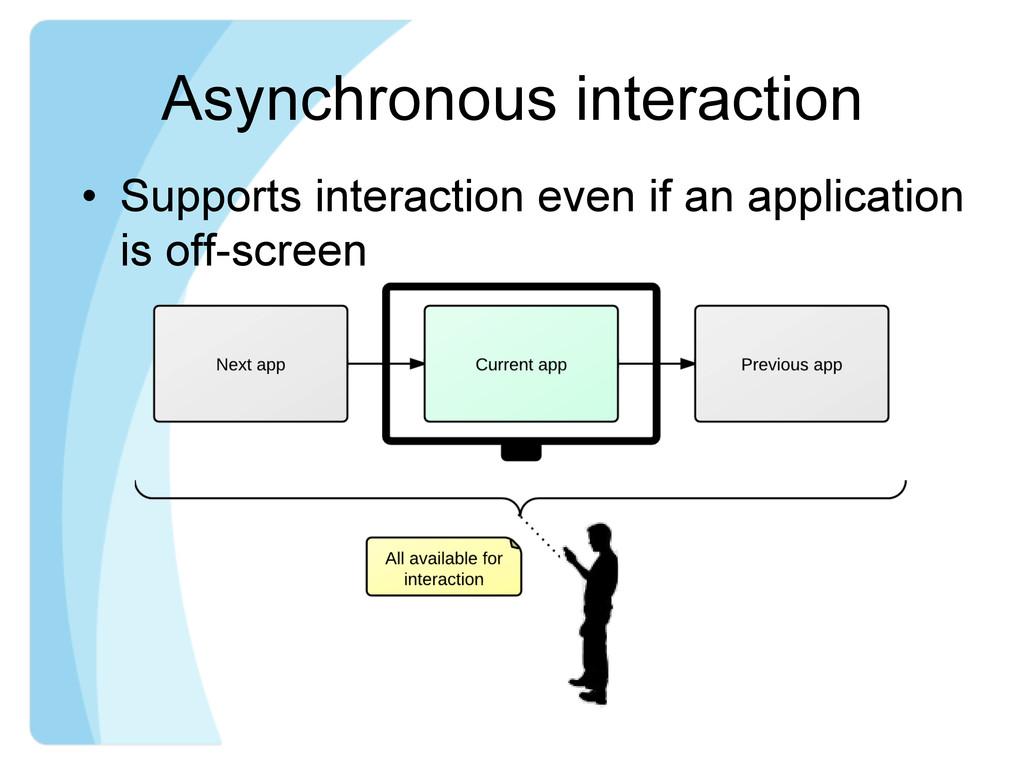 Asynchronous interaction • Supports interactio...