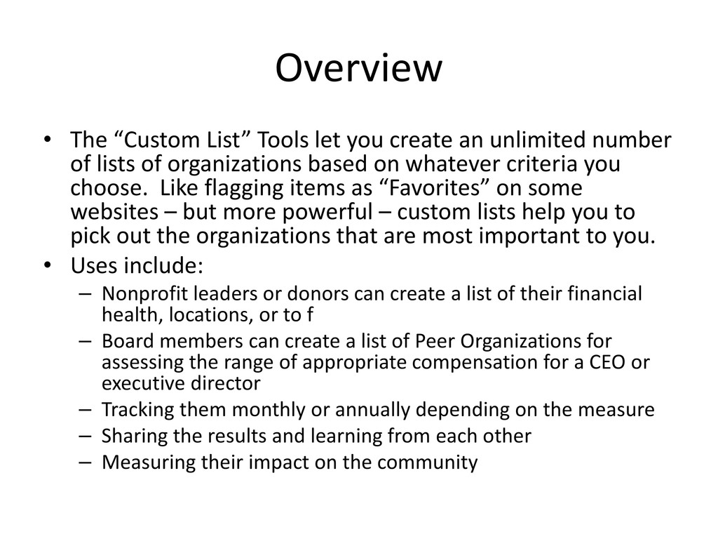 """Overview • The """"Custom List"""" Tools let you crea..."""