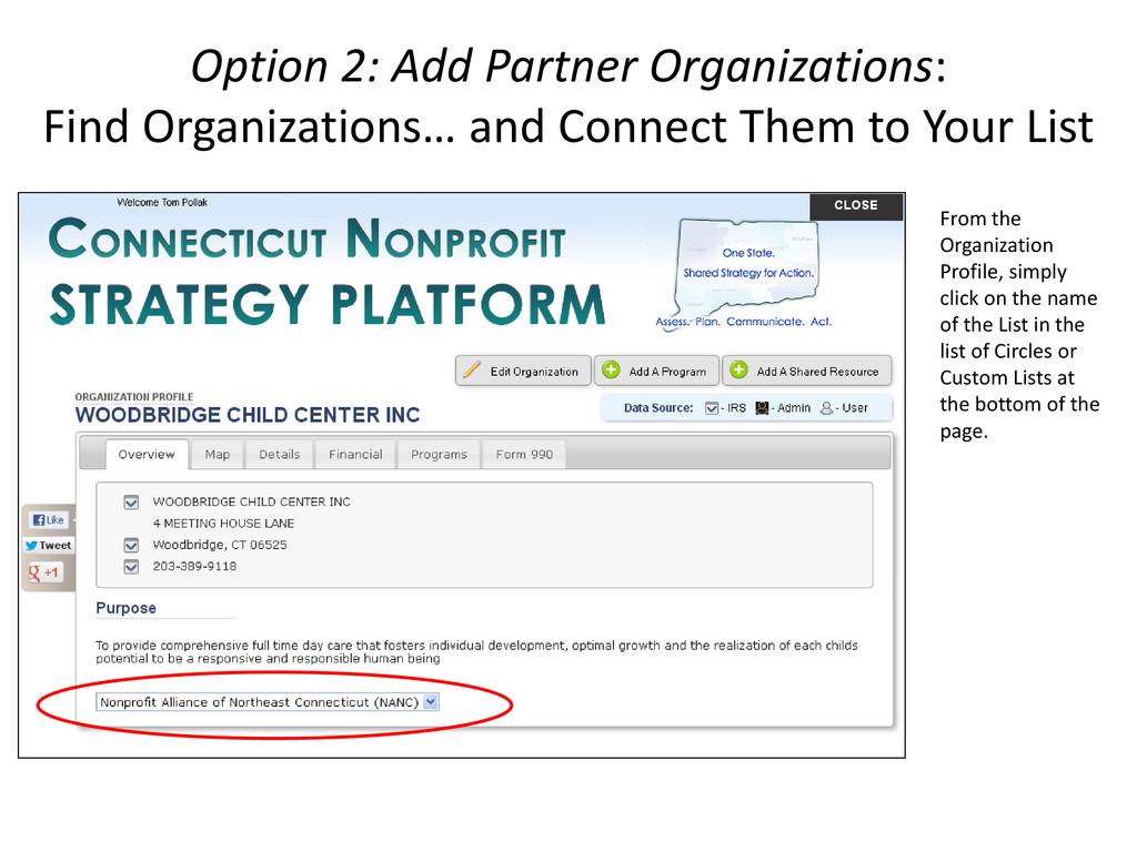 Option 2: Add Partner Organizations: Find Organ...
