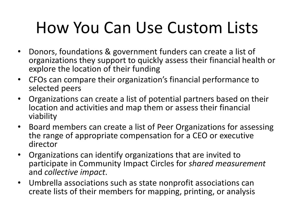 How You Can Use Custom Lists • Donors, foundati...