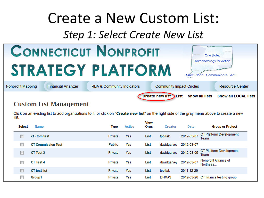 Create a New Custom List: Step 1: Select Create...