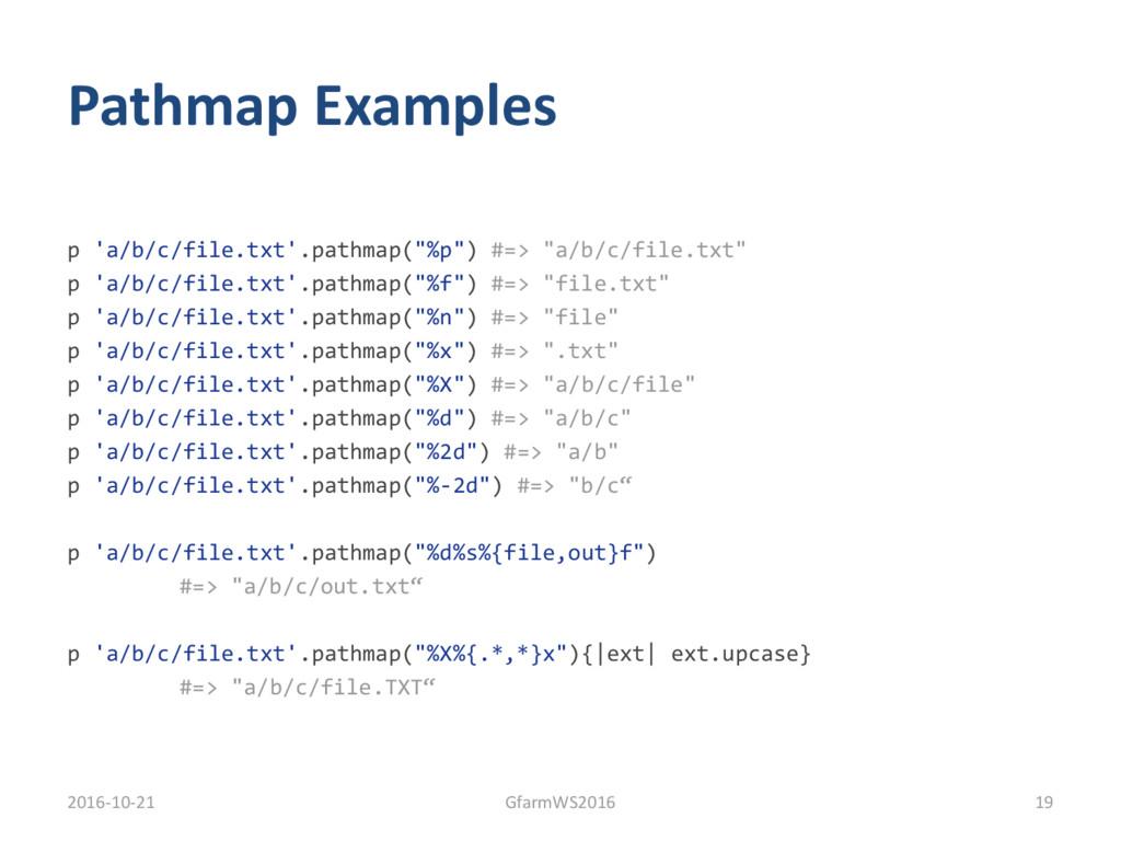"Pathmap Examples p 'a/b/c/file.txt'.pathmap(""%p..."