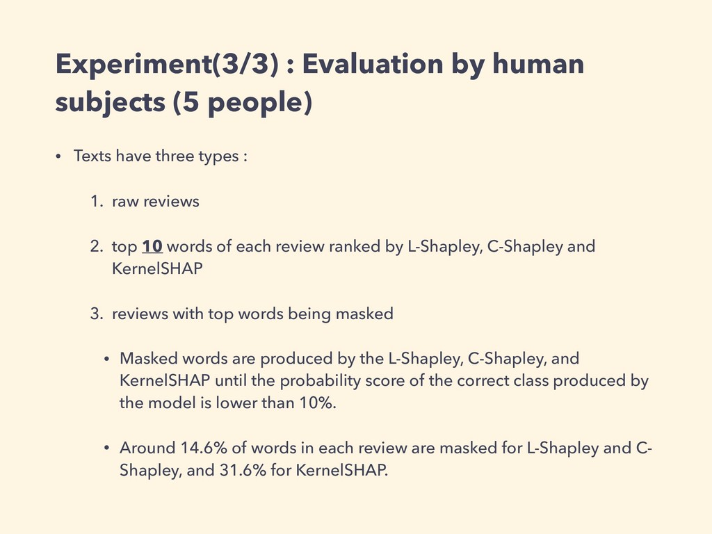 Experiment(3/3) : Evaluation by human subjects ...