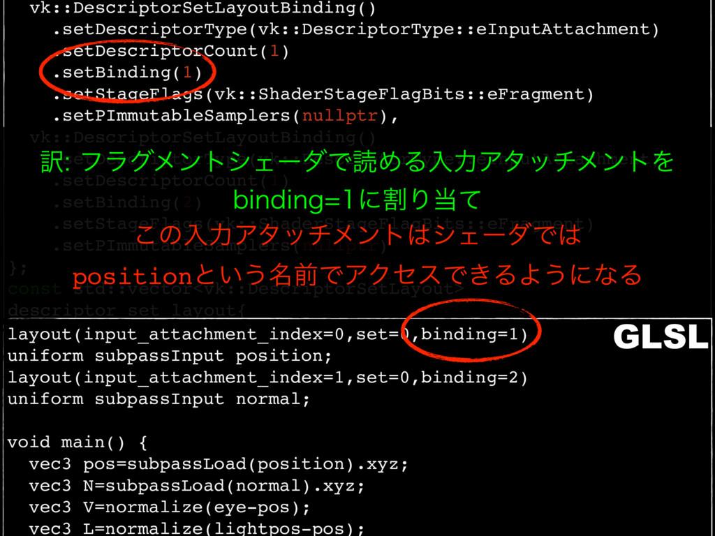vk::DescriptorSetLayoutBinding() .setDescriptor...
