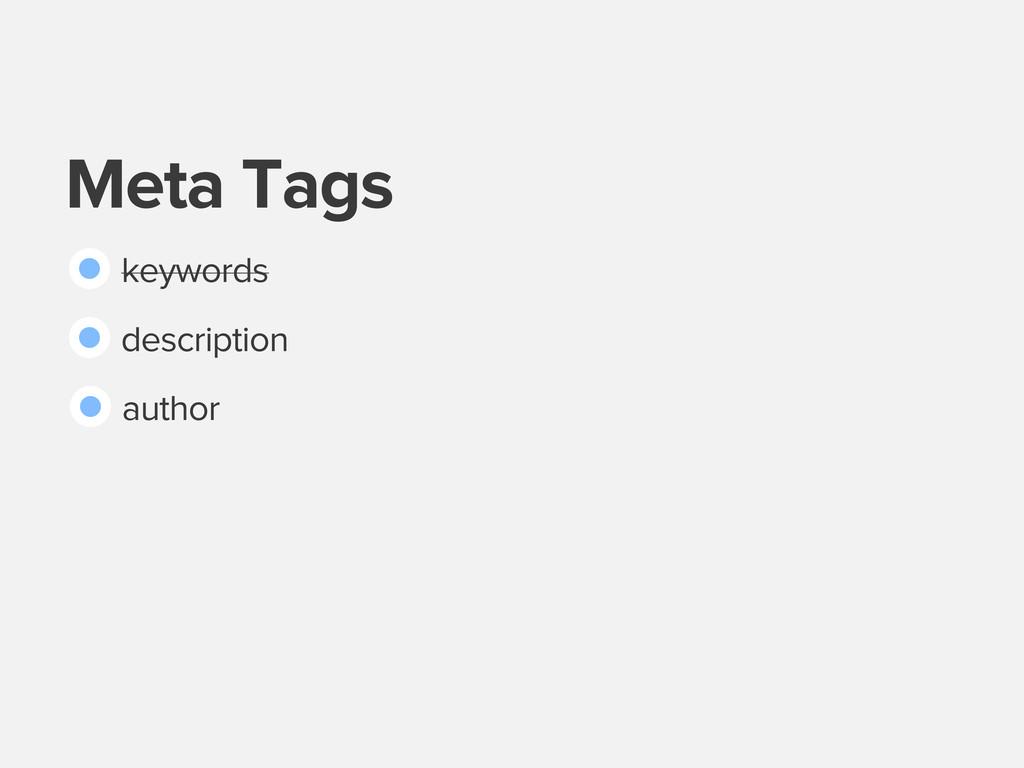 Meta Tags keywords description author