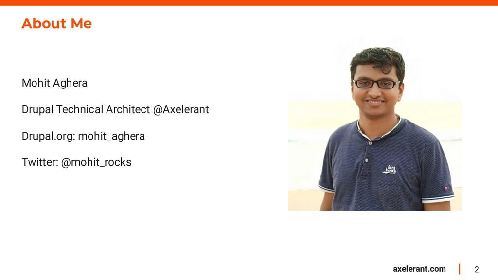 2 axelerant.com About Me Mohit Aghera Drupal Te...