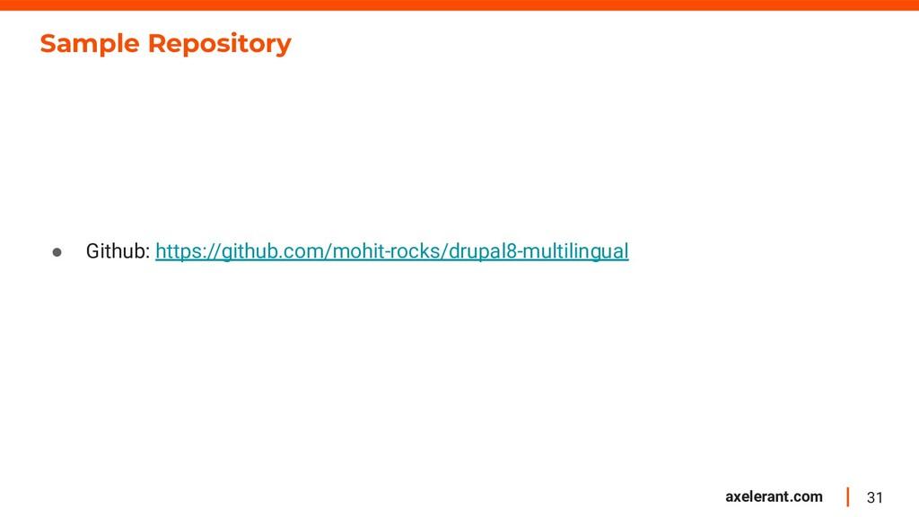 31 axelerant.com Sample Repository ● Github: ht...