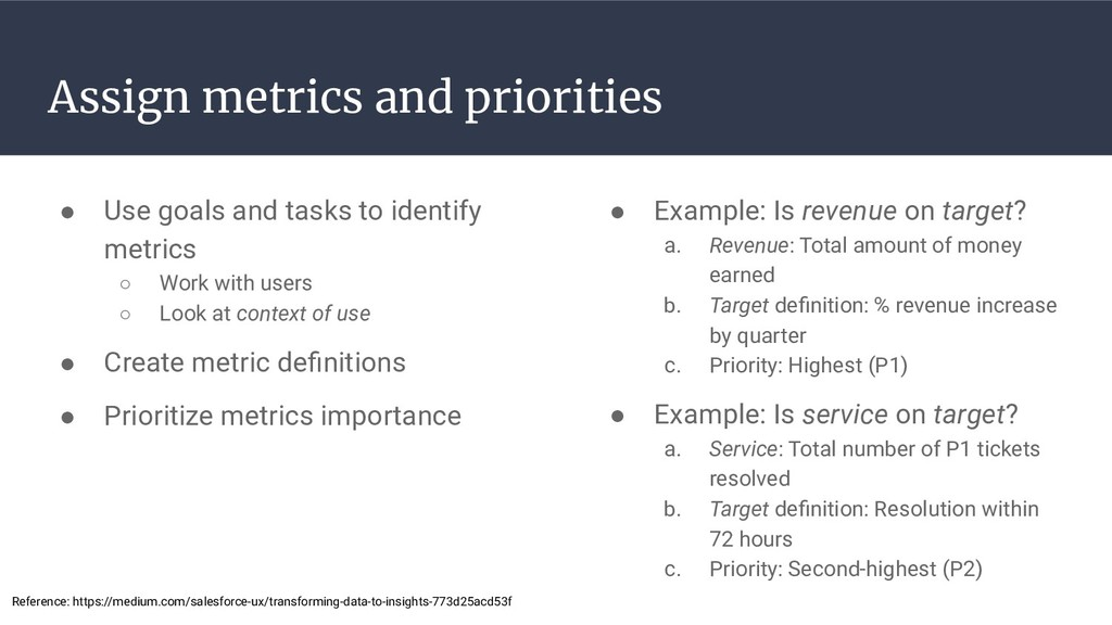 Assign metrics and priorities ● Use goals and t...