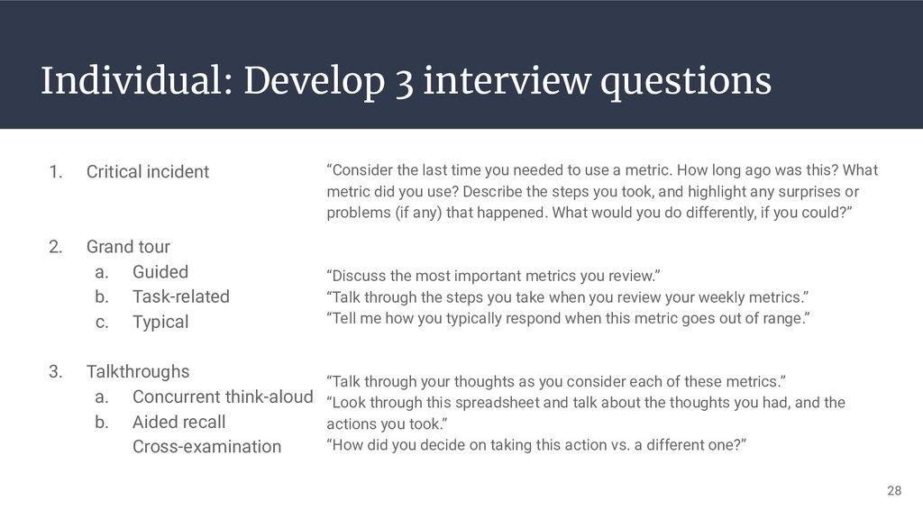 28 Individual: Develop 3 interview questions 1....