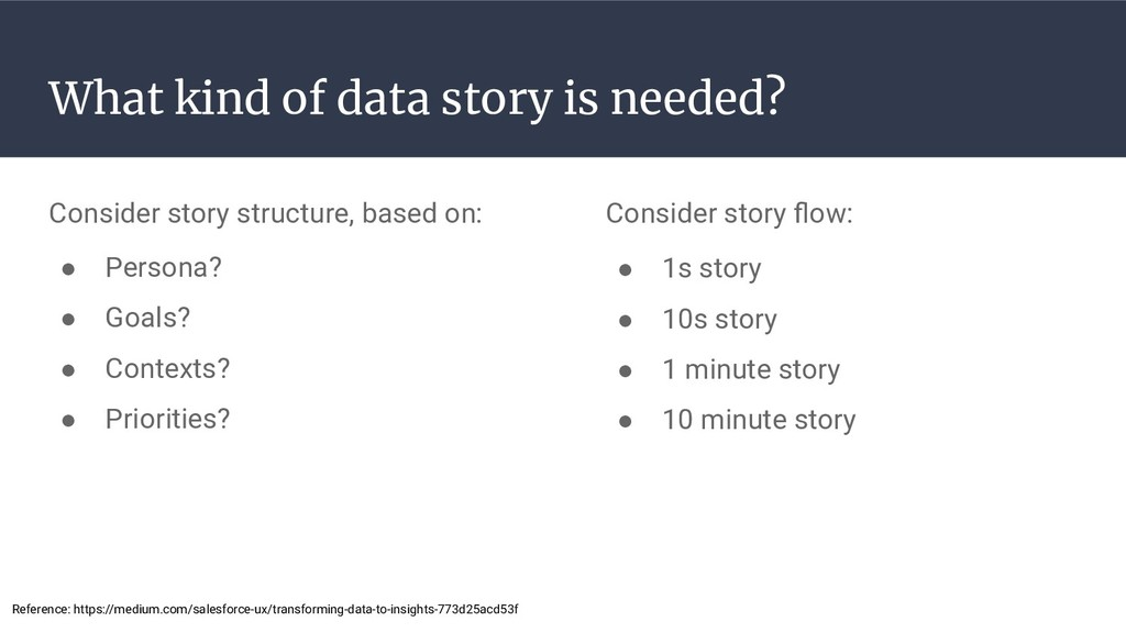 What kind of data story is needed? Consider sto...