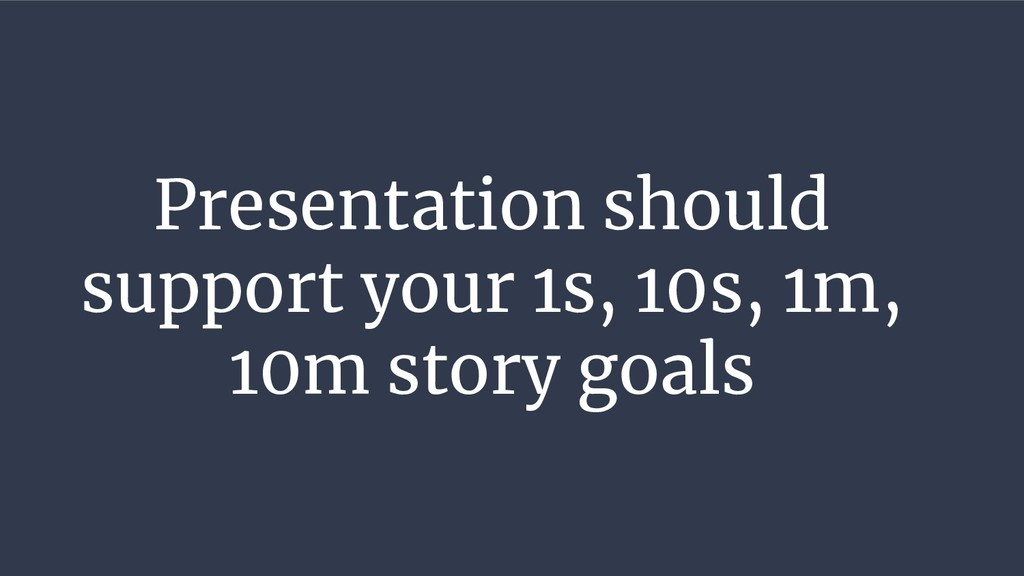 Presentation should support your 1s, 10s, 1m, 1...
