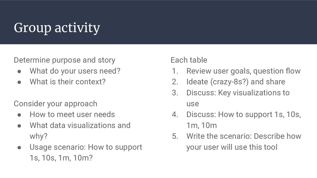 Group activity Determine purpose and story ● Wh...