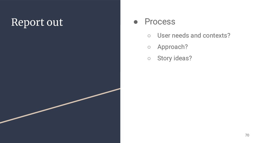 Report out ● Process ○ User needs and contexts?...