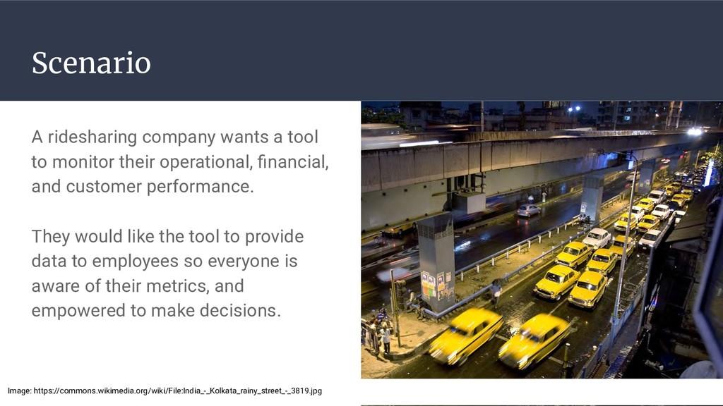 Scenario A ridesharing company wants a tool to ...