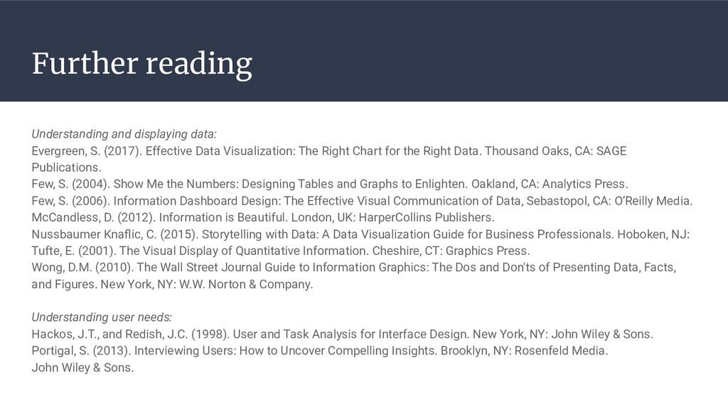 Further reading Understanding and displaying da...