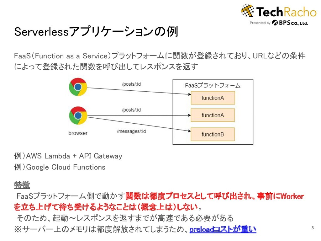 Serverlessアプリケーションの例 FaaS(Function as a Servic...