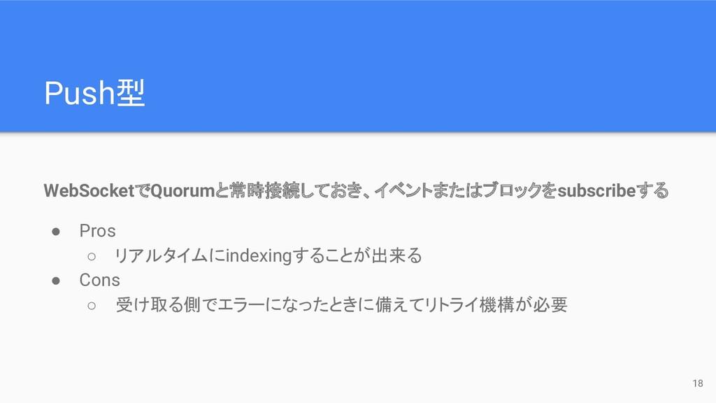Push型 WebSocketでQuorumと常時接続しておき、イベントまたはブロックをsub...