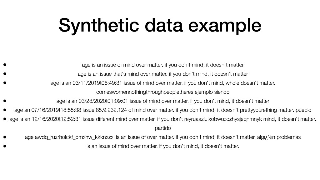 Synthetic data example • age is an issue of min...