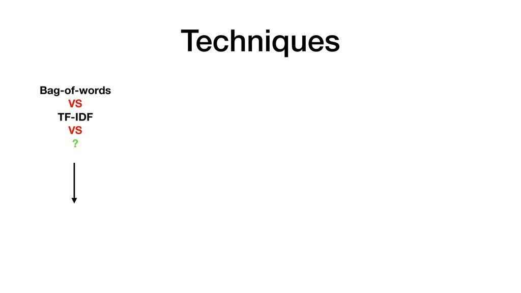 Techniques Bag-of-words VS TF-IDF VS ?
