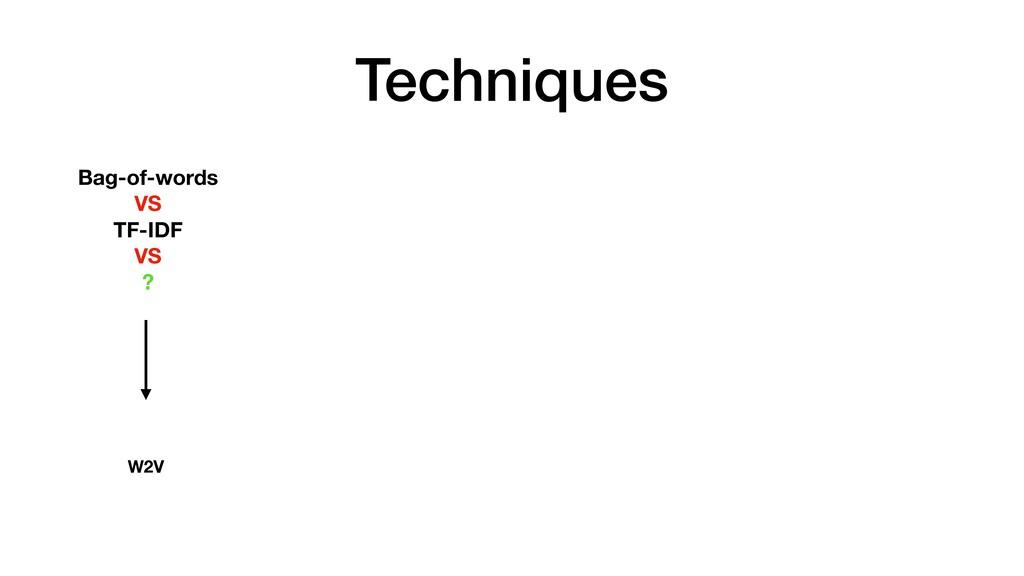 Techniques Bag-of-words VS TF-IDF VS ? W2V