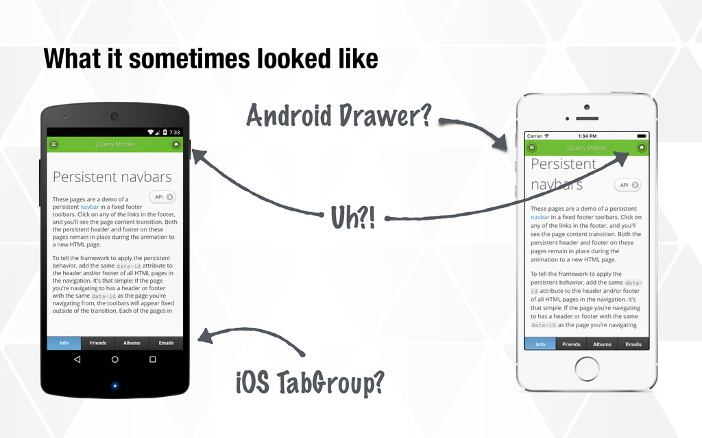 What it sometimes looked like iOS TabGroup? And...