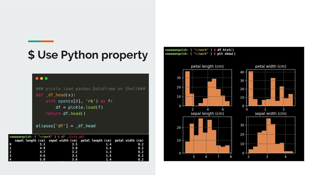 $ Use Python property