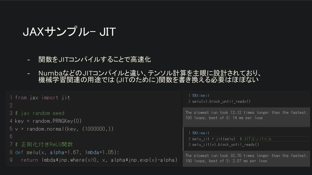 JAXサンプル- JIT - 関数をJITコンパイルすることで高速化 - NumbaなどのJ...