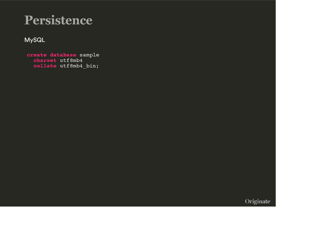 create database sample charset utf8mb4 collate ...
