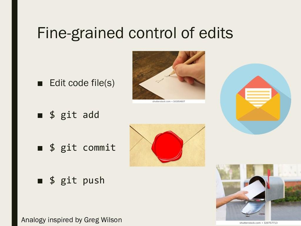 Fine-grained control of edits ■ Edit code file(...