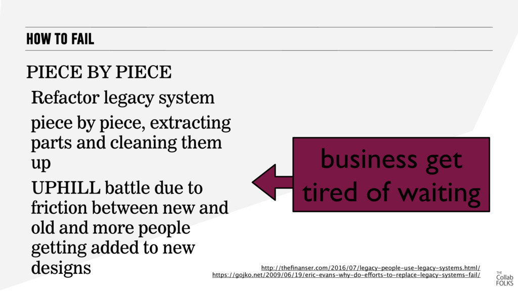 HOW TO FAIL PIECE BY PIECE Refactor legacy syst...