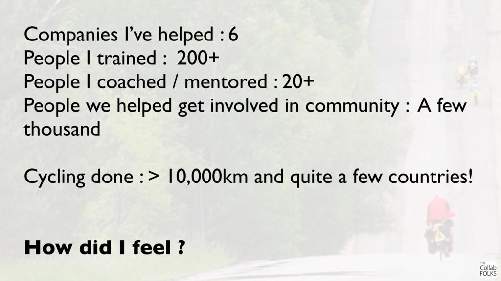 Companies I've helped : 6 People I trained : 20...