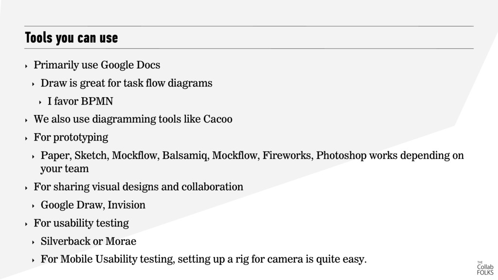 Tools you can use ‣ Primarily use Google Docs ‣...