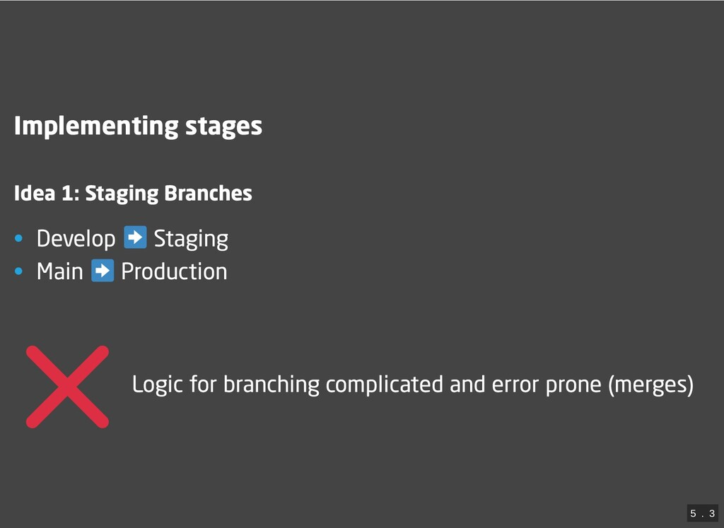 Implementing stages Idea 1: Staging Branches • ...