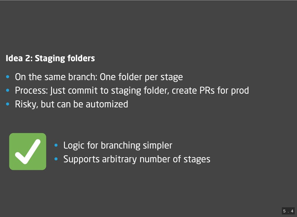 Idea 2: Staging folders • On the same branch: O...