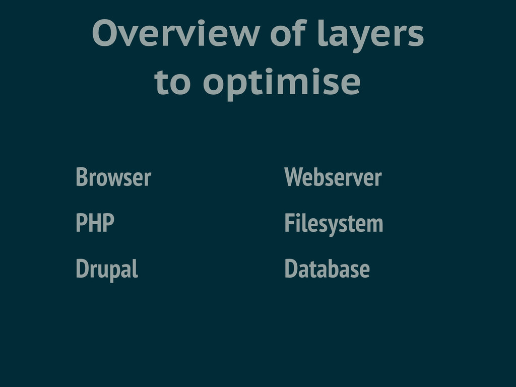 Overview of layers to optimise Browser Webserve...