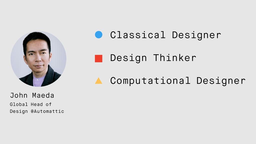 Classical Designer Design Thinker Computational...
