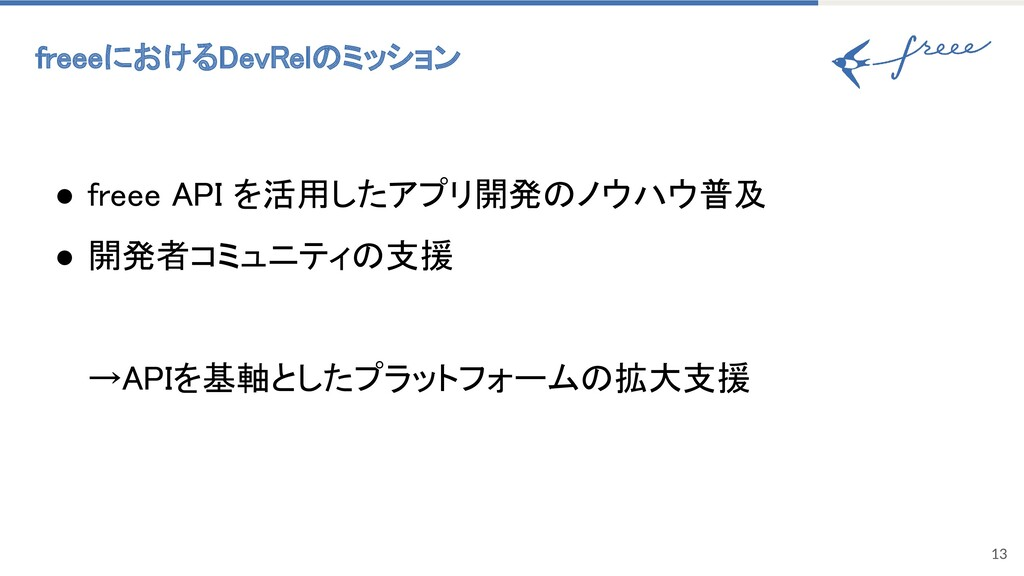 13 freeeにおけるDevRelのミッション ● freee API を活用したアプリ開...